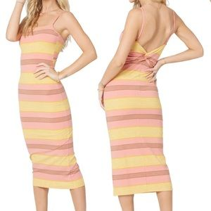 Vanessa Stripe Cover-Up Dress twist midi retro